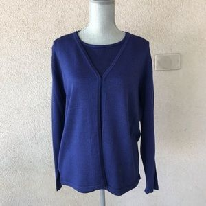 Liz Claiborne Blue Metallic Silk Shell & Cardigan